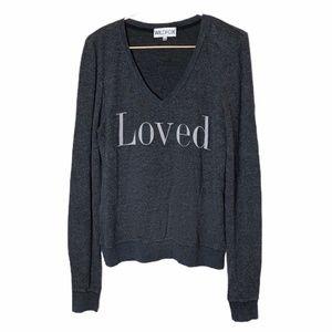 "WILDFOX Fuzzy Sweatshirt Gray ""Loved"" Graphic"